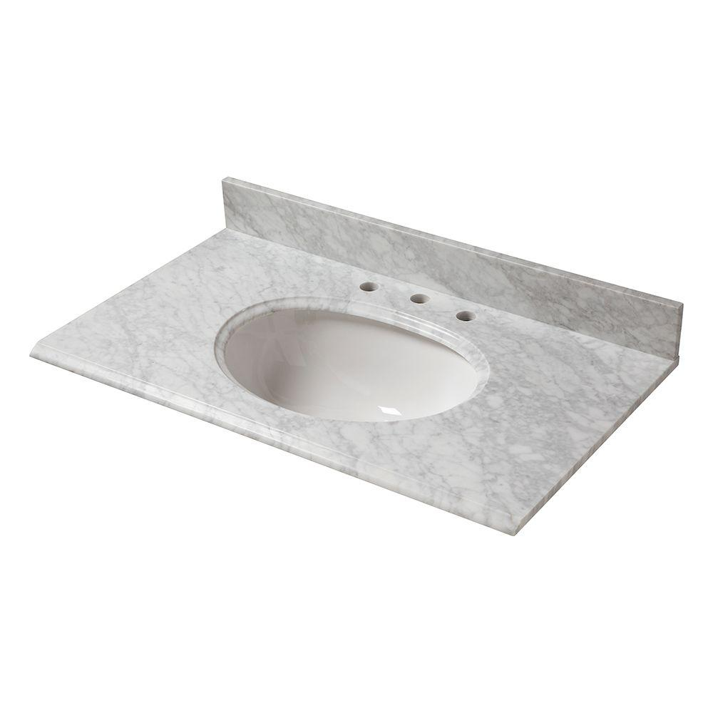 37 in. W Marble Vanity Top in Carrara with White Bowl