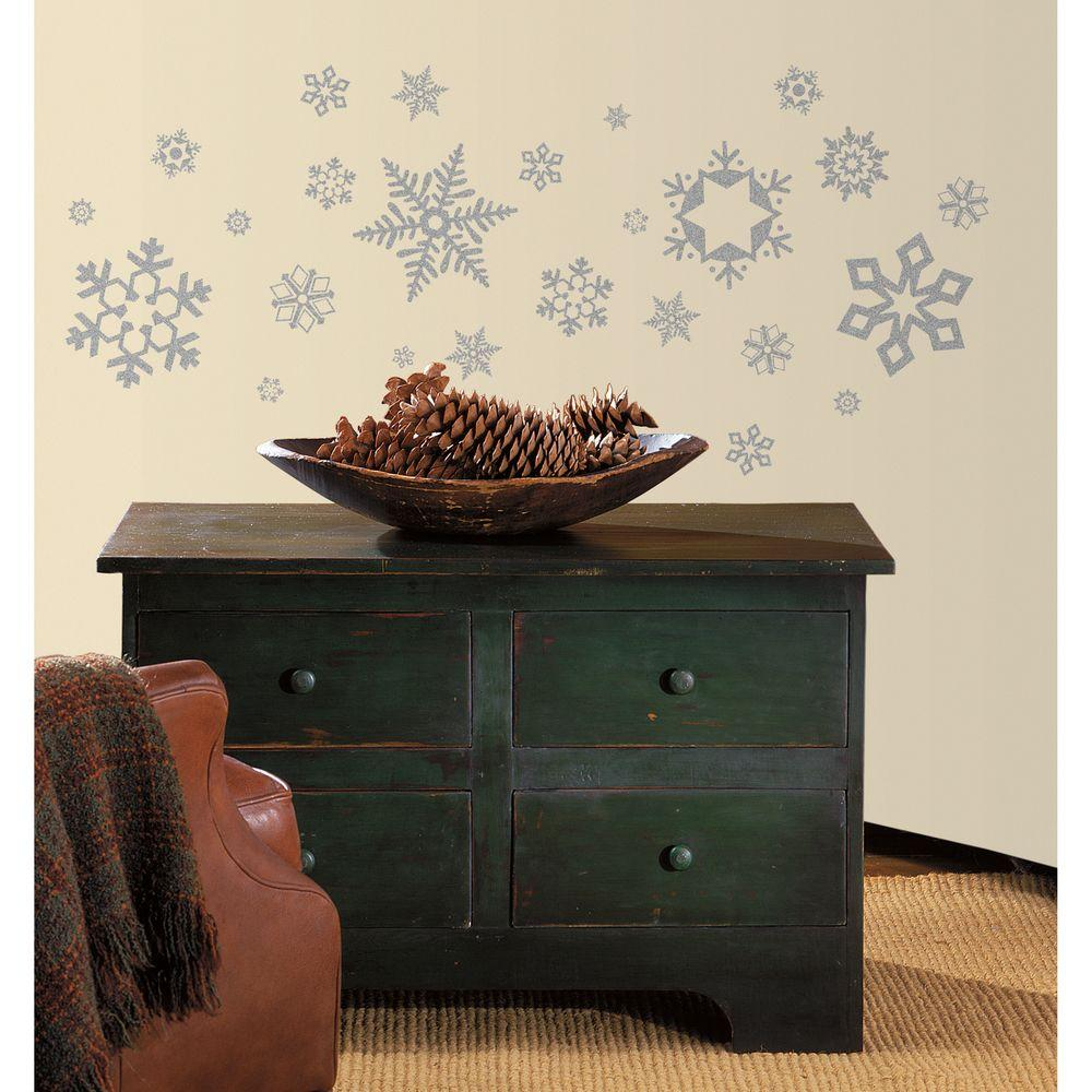 null 10 in. x 18 in. Glitter Snowflakes 47-Piece Peel and Stick Wall Decals