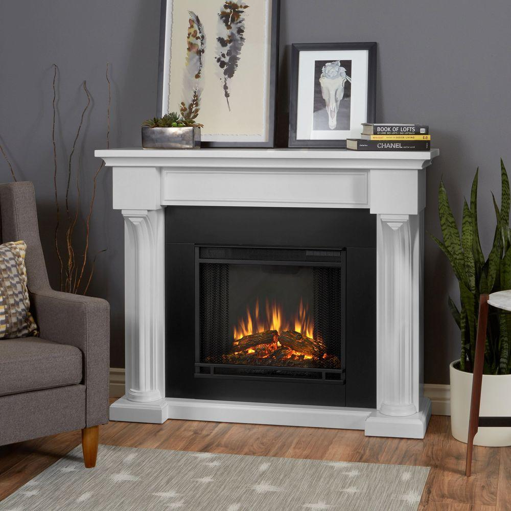 ashley electric fireplace pictures Real Flame Ashley 48 in Electric Fireplace in White 7100E-W at