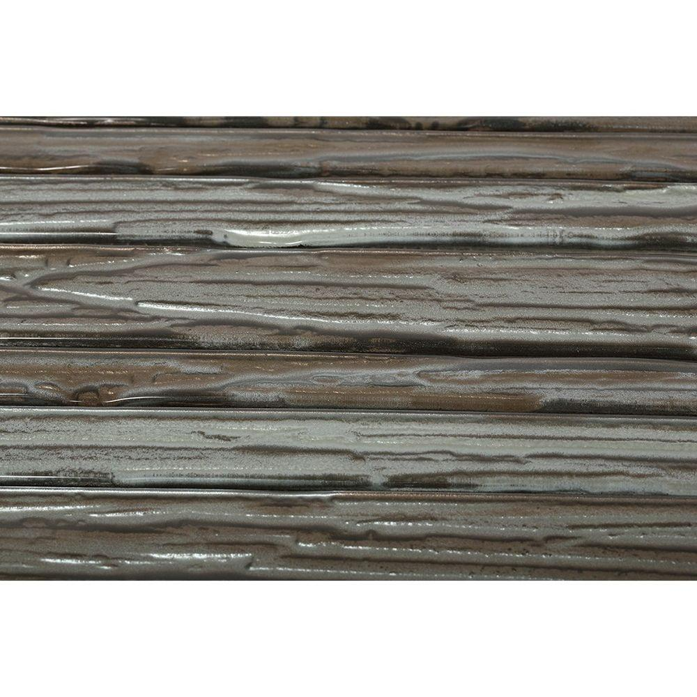 Gemini Redwood Planks Polished Glass Mosaic Floor and Wall Tile -
