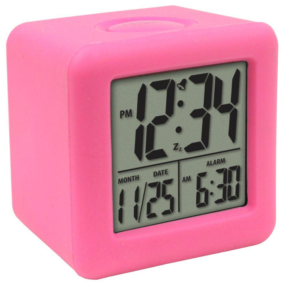 La Crosse Technology 3-1/4 in. x 3-1/4 in. Soft Pink Cube LCD Digital Alarm Clock