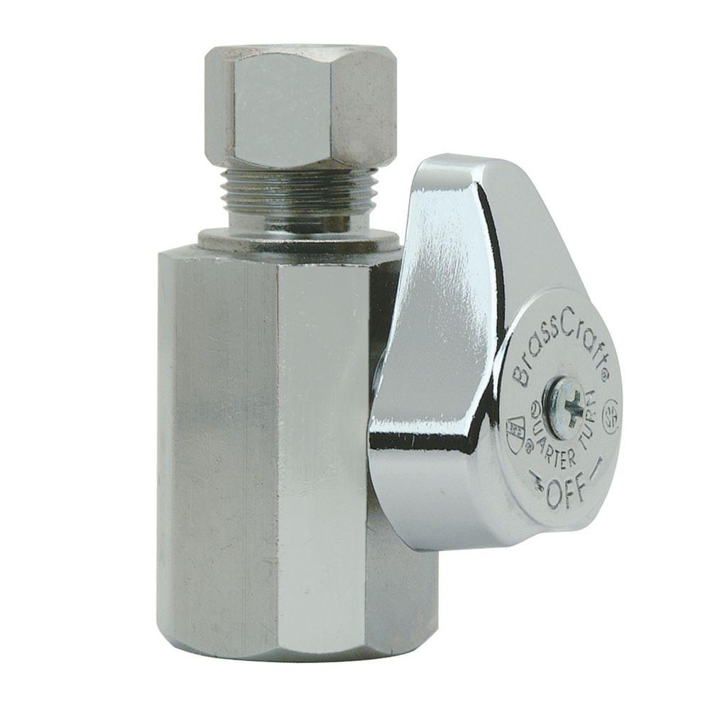 BrassCraft 1/2 in. FIP Inlet x 3/8 in. O.D. Compression Outlet 1/4-Turn Straight Valve