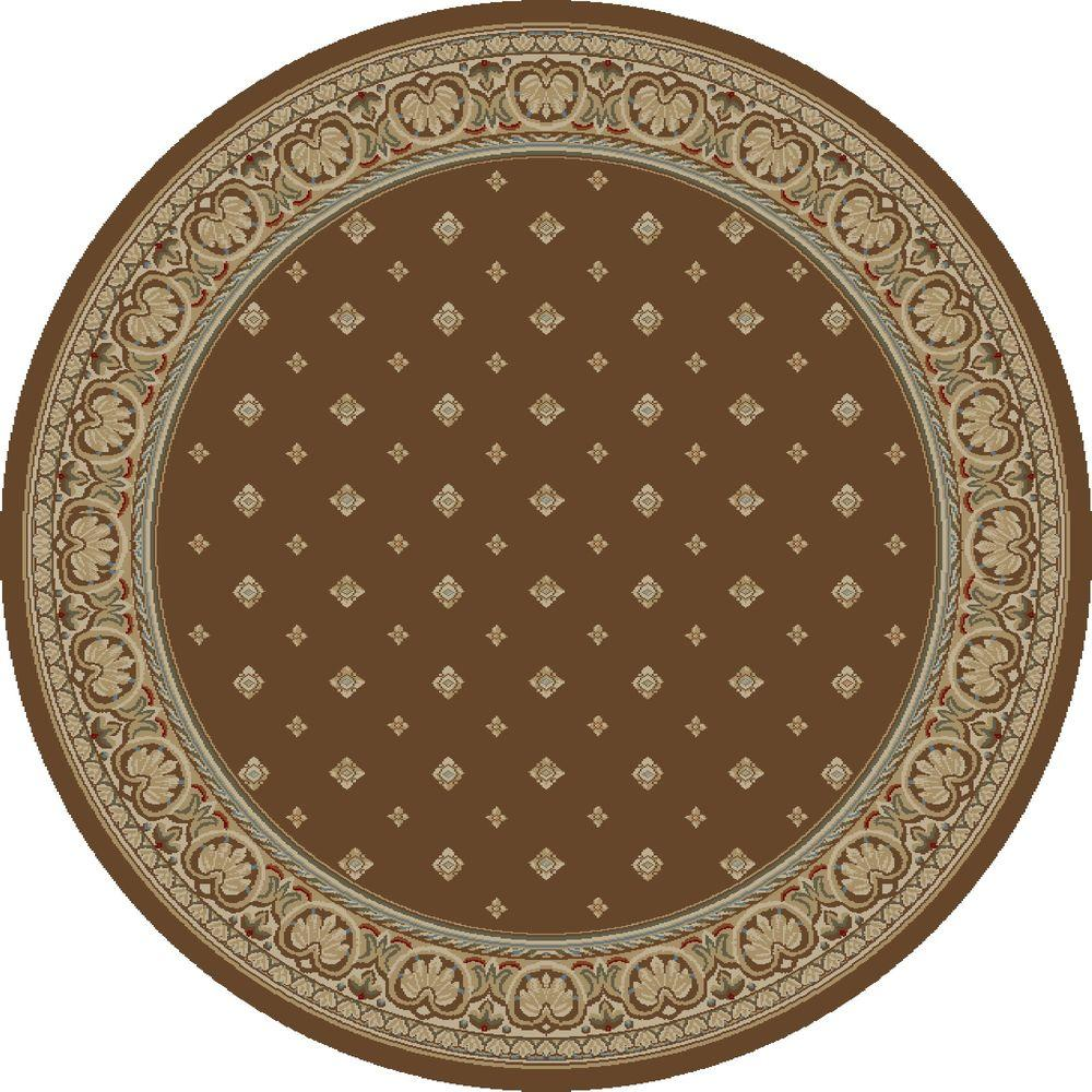 Ankara Pin Dot Brown 7 ft. 10 in. Round Area Rug