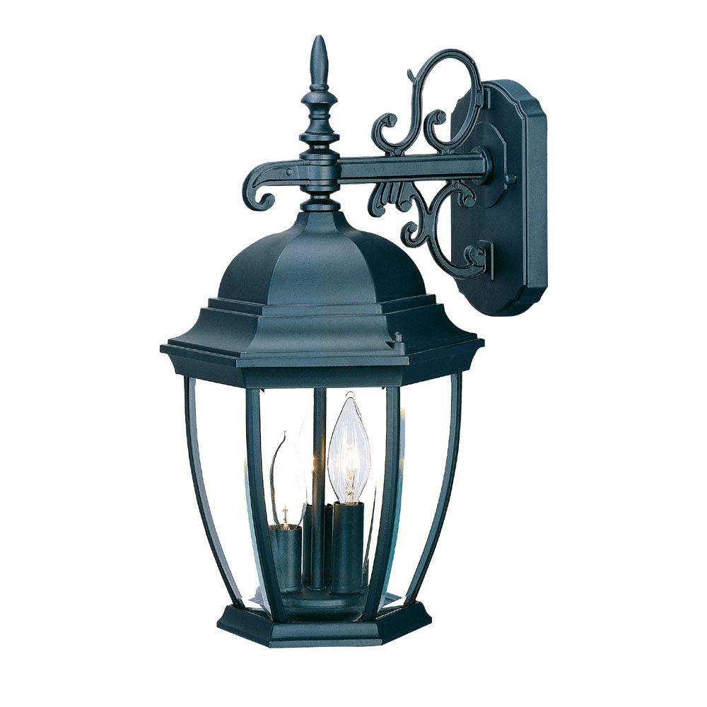 Acclaim Lighting Wexford Collection 3-Light Matte Black Outdoor Wall-Mount Light Fixture