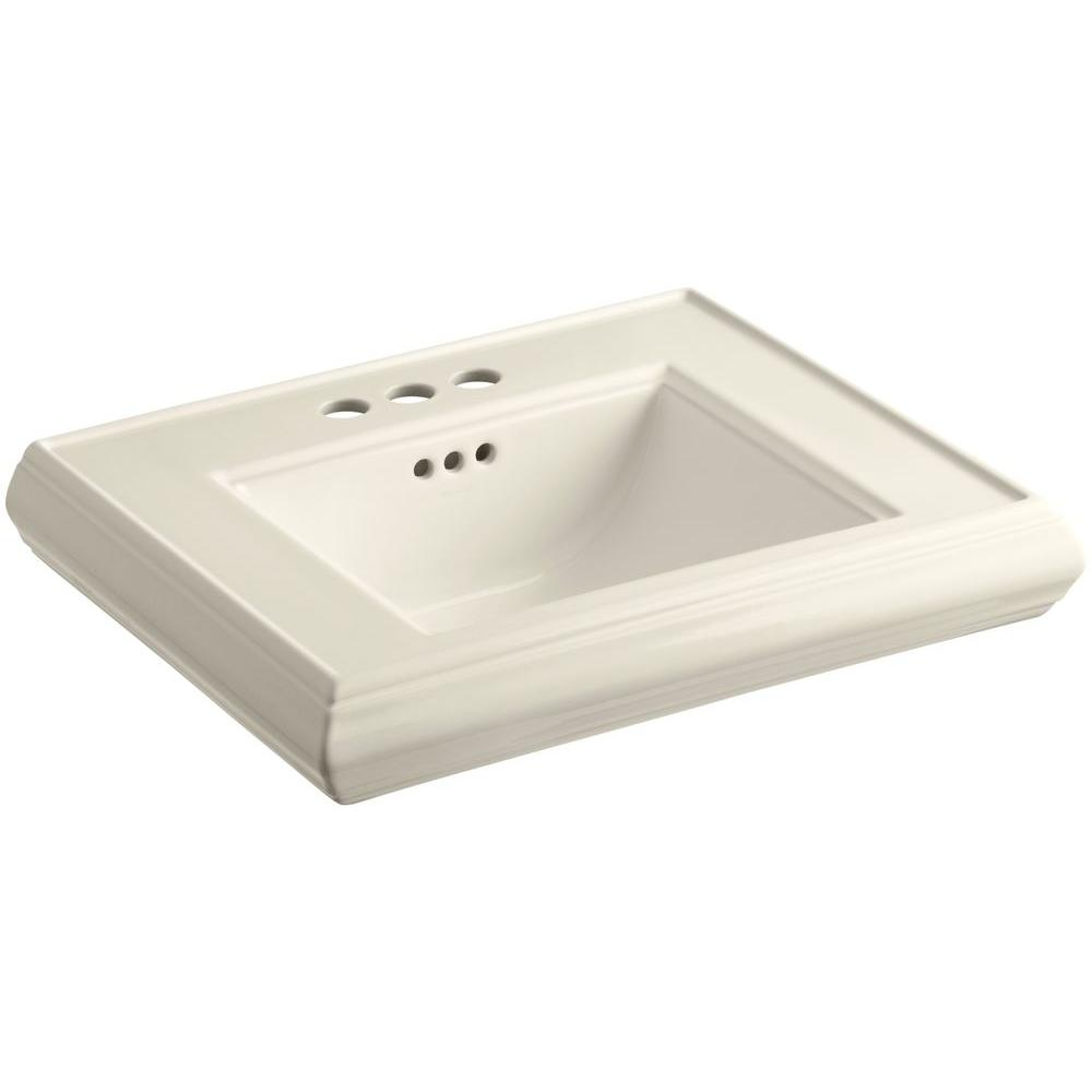 Memoirs 24 in. Ceramic Pedestal Sink Basin in Almond with Overflow