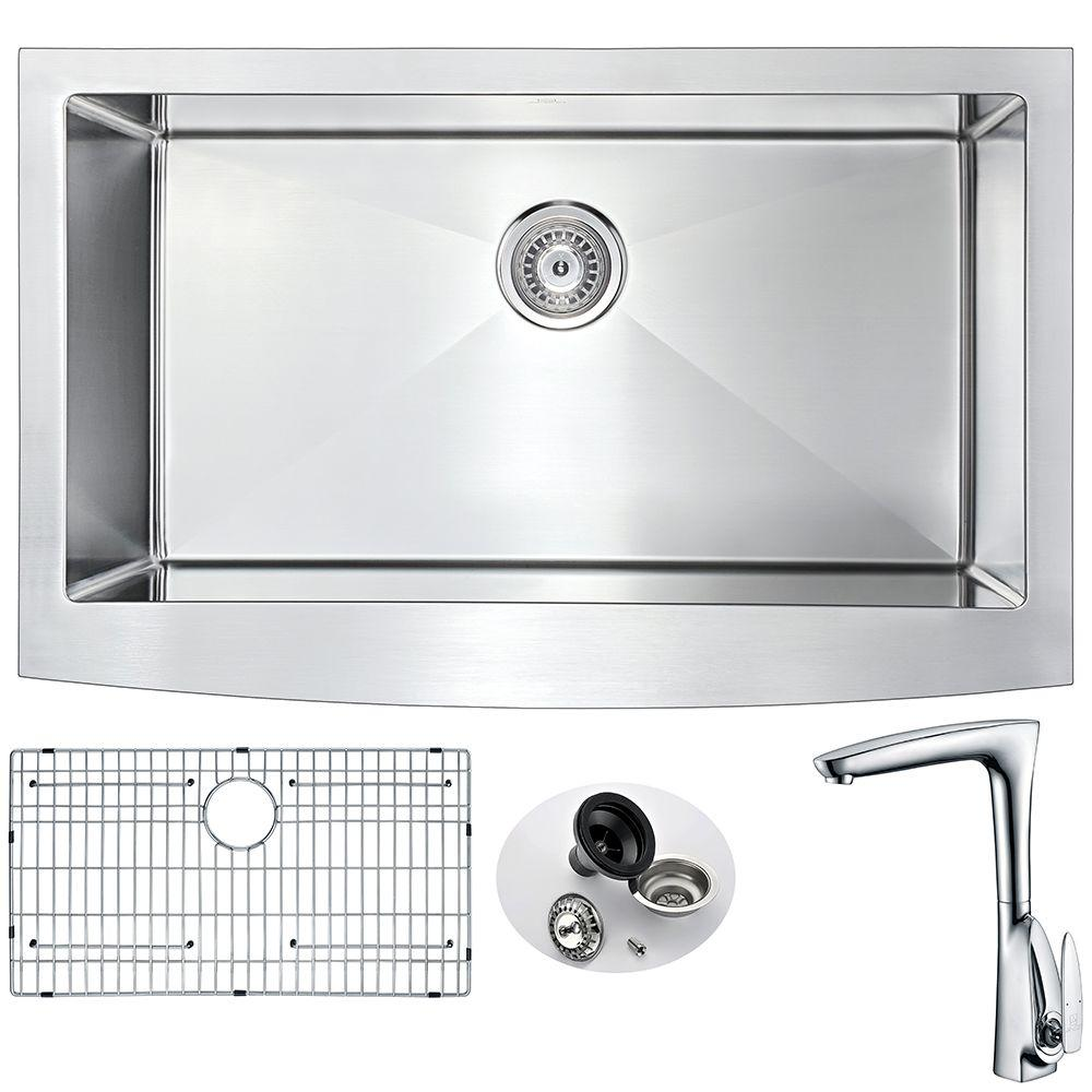Elysian Farmhouse Stainless Steel 32 In 0 Hole Kitchen Sink And Faucet
