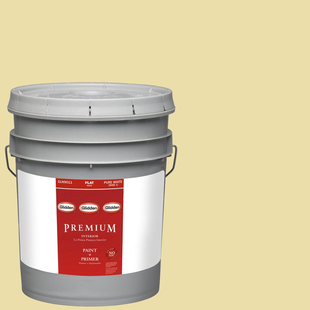 Glidden Premium 5-gal. #HDGY59 Candle Glow Flat Latex Interior Paint with Primer