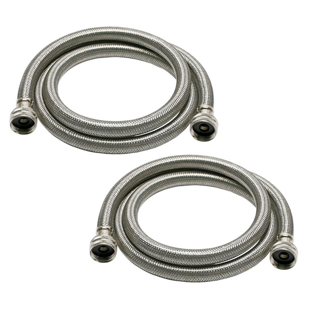Fluidmaster Universal 3/4 in. x 6 ft. Stainless Steel High Efficiency Washing Machine Hose (2-Pack)