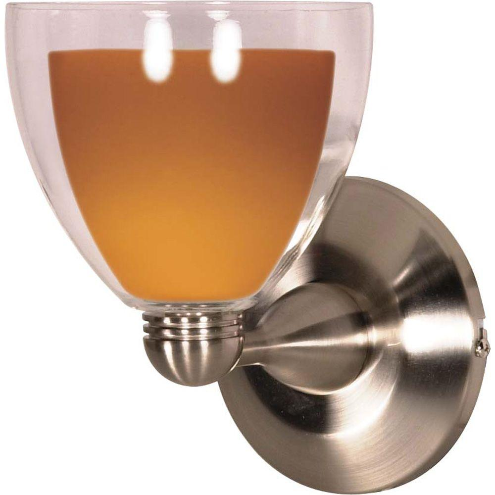 Glomar 1-Light Brushed Nickel Incandescent Wall Fixture with Butterscotch / Crystal Bullet-DISCONTINUED