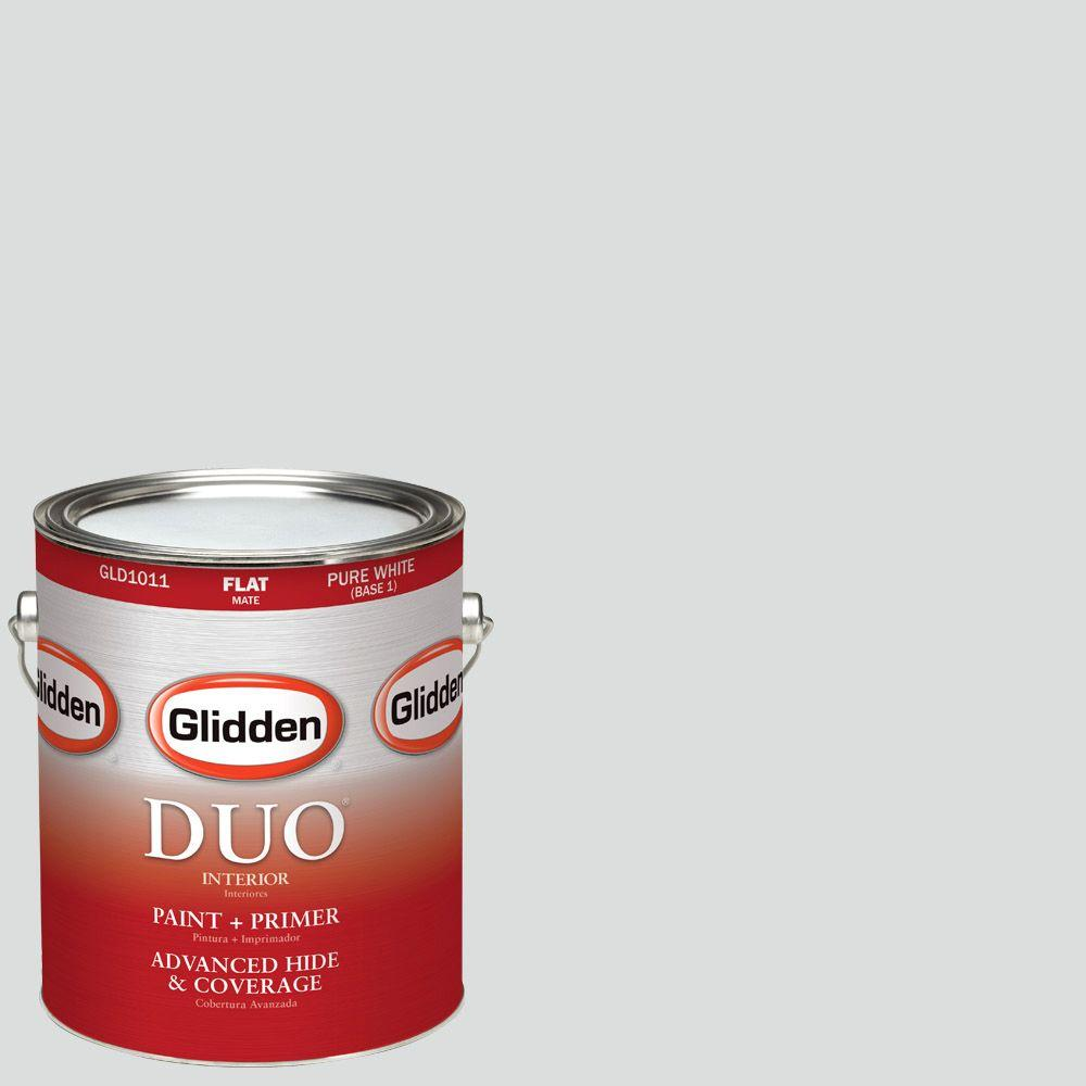 Glidden DUO 1-gal. #HDGCN35D Swiss White Flat Latex Interior Paint with Primer