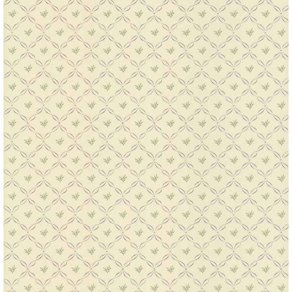 Brewster Madison Florals Yellow Trellis Print Wallpaper Sample