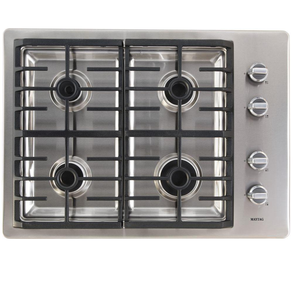 Maytag 30 in. Gas Cooktop in Stainless Steel with 4 Burners including Power Cook Burners