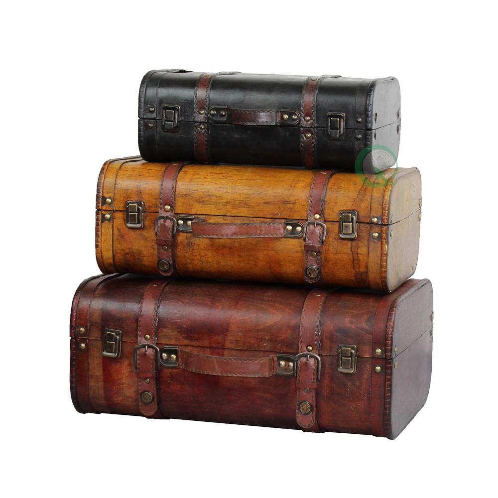 "Vintiquewise 17.7 x 12.2 x 7.4"" Wooden 3-Colored Vintage Style Luggage"