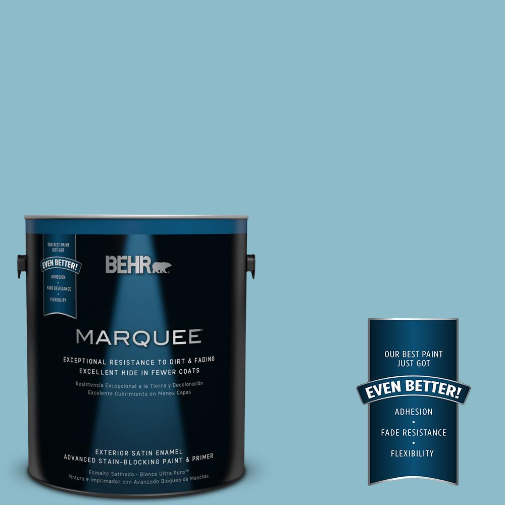 BEHR MARQUEE 1-gal. #S460-3 Blue Echo Satin Enamel Exterior Paint