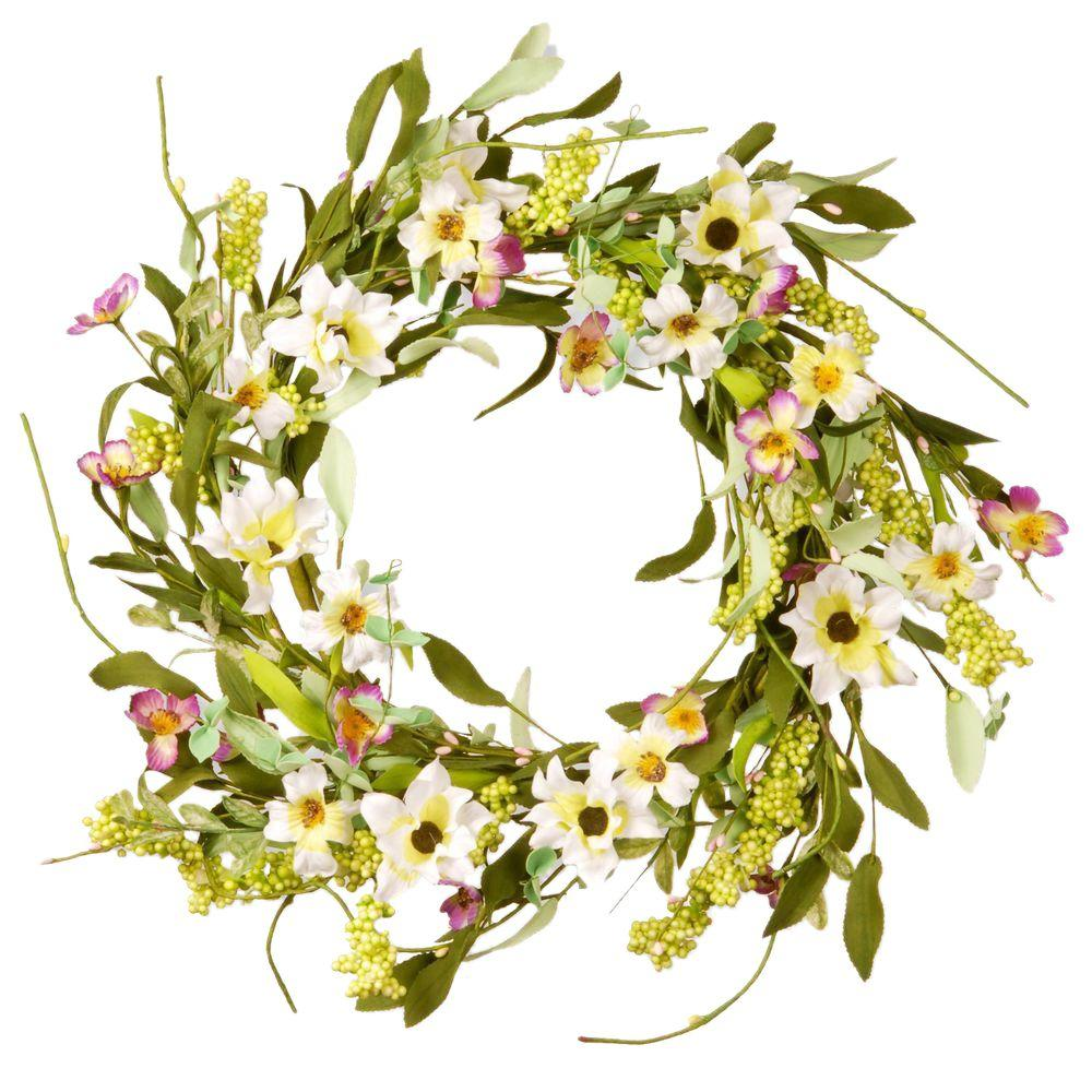 National Tree Company 20 in. Mixed Flowers White/Purple Floral Wreath