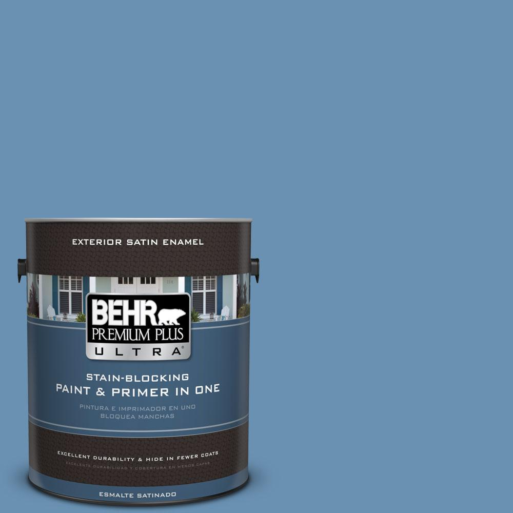1-gal. #M510-4 Brittany Blue Satin Enamel Exterior Paint