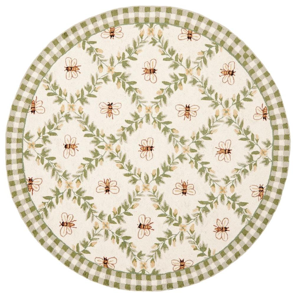 Safavieh Chelsea Ivory/Green 8 ft. x 8 ft. Round Area Rug