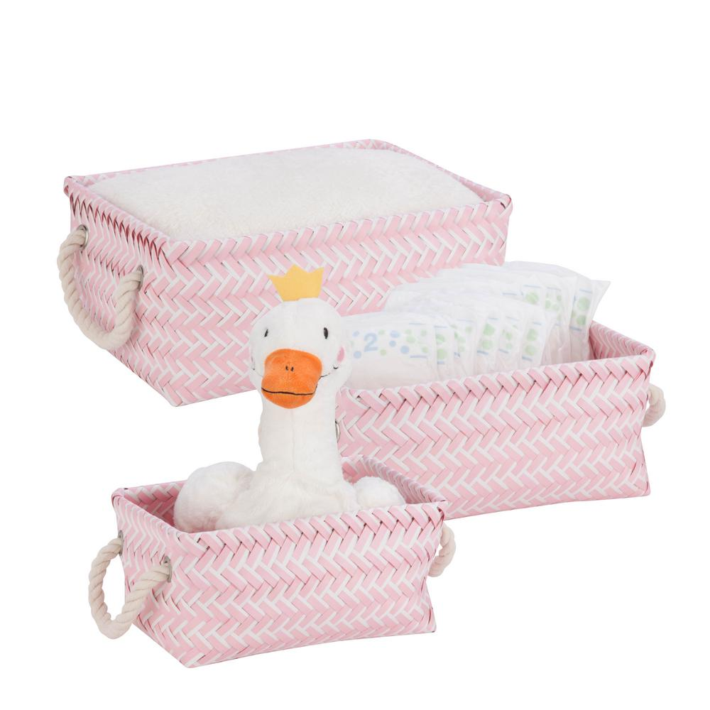 13 in. x 6 in. Pink Nestable PP Weave Basket (3-Pack)