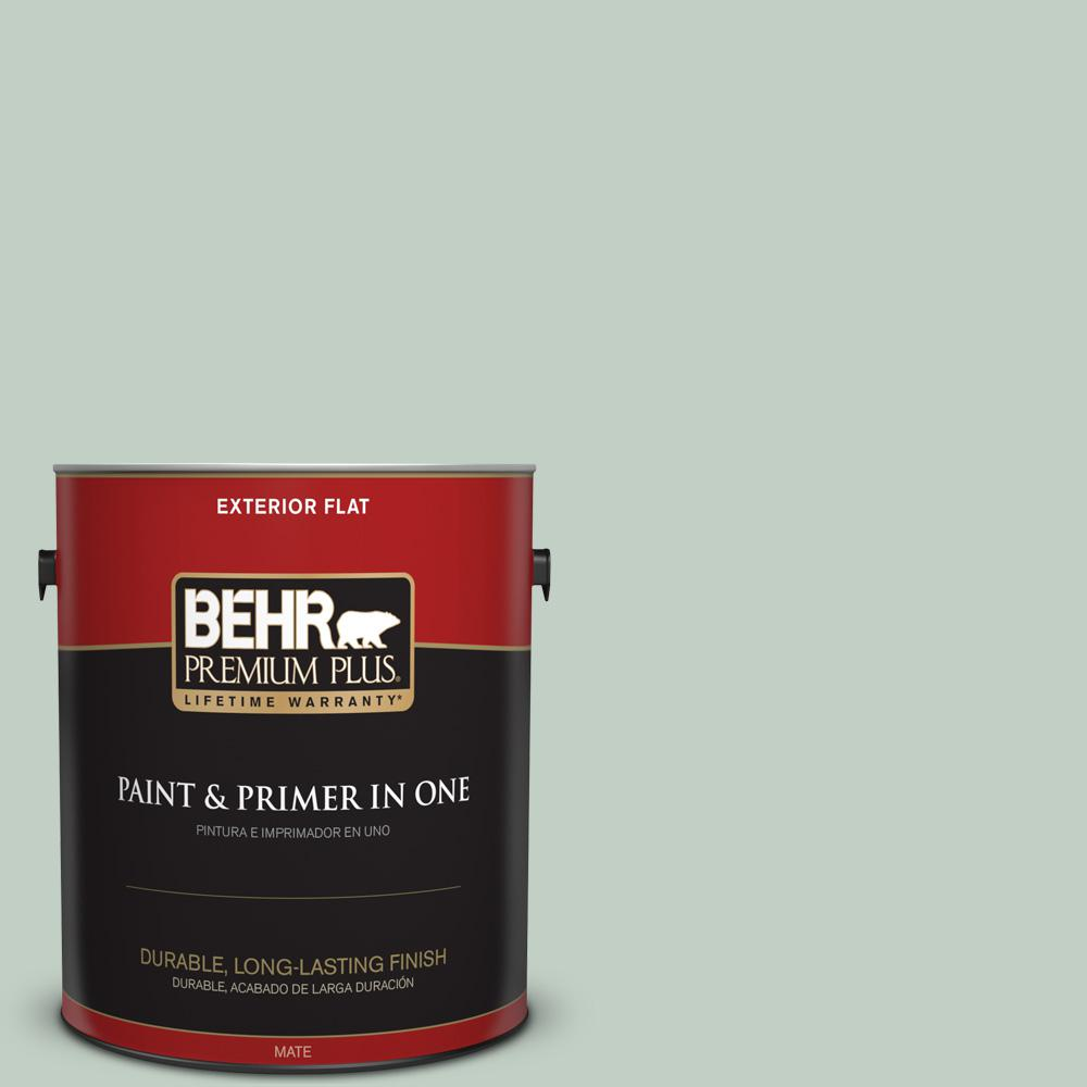 BEHR Premium Plus 1 gal. #PPU11-13 Frosted Jade Flat Exterior Paint-405001