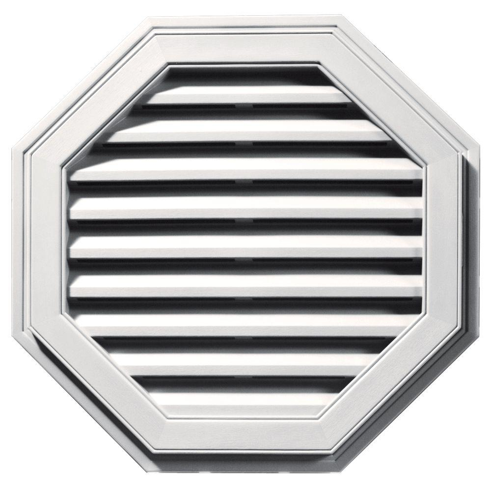 Builders Edge 27 in. Octagon Gable Vent #117 Bright White-120012727117 -
