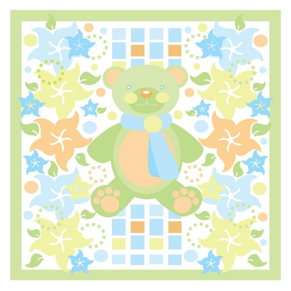 35 in. x 35 in. Teddy Bear and Flowers Canvas Art