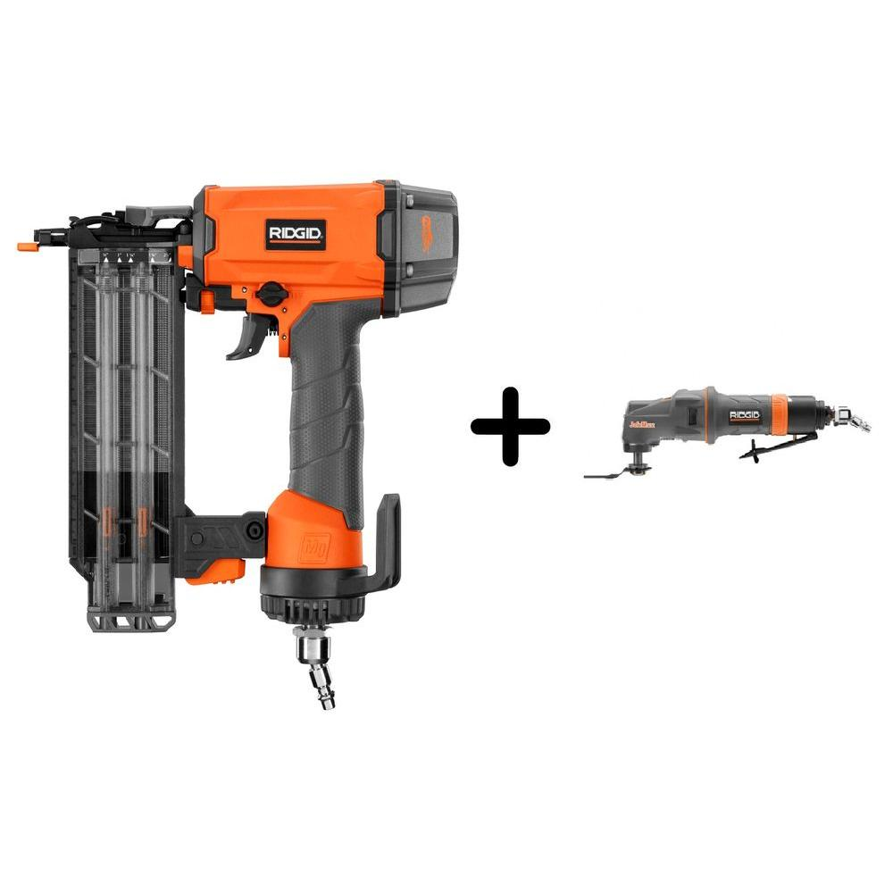 RIDGID 18-Gauge 2-1/8 in. Brad Nailer and Pneumatic JobMax Multi-Tool Starter Kit