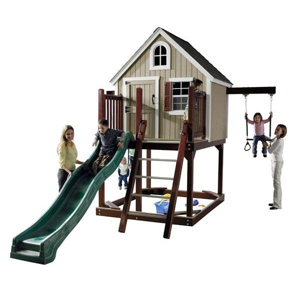 homeplace structures treehouse loft with swings slide
