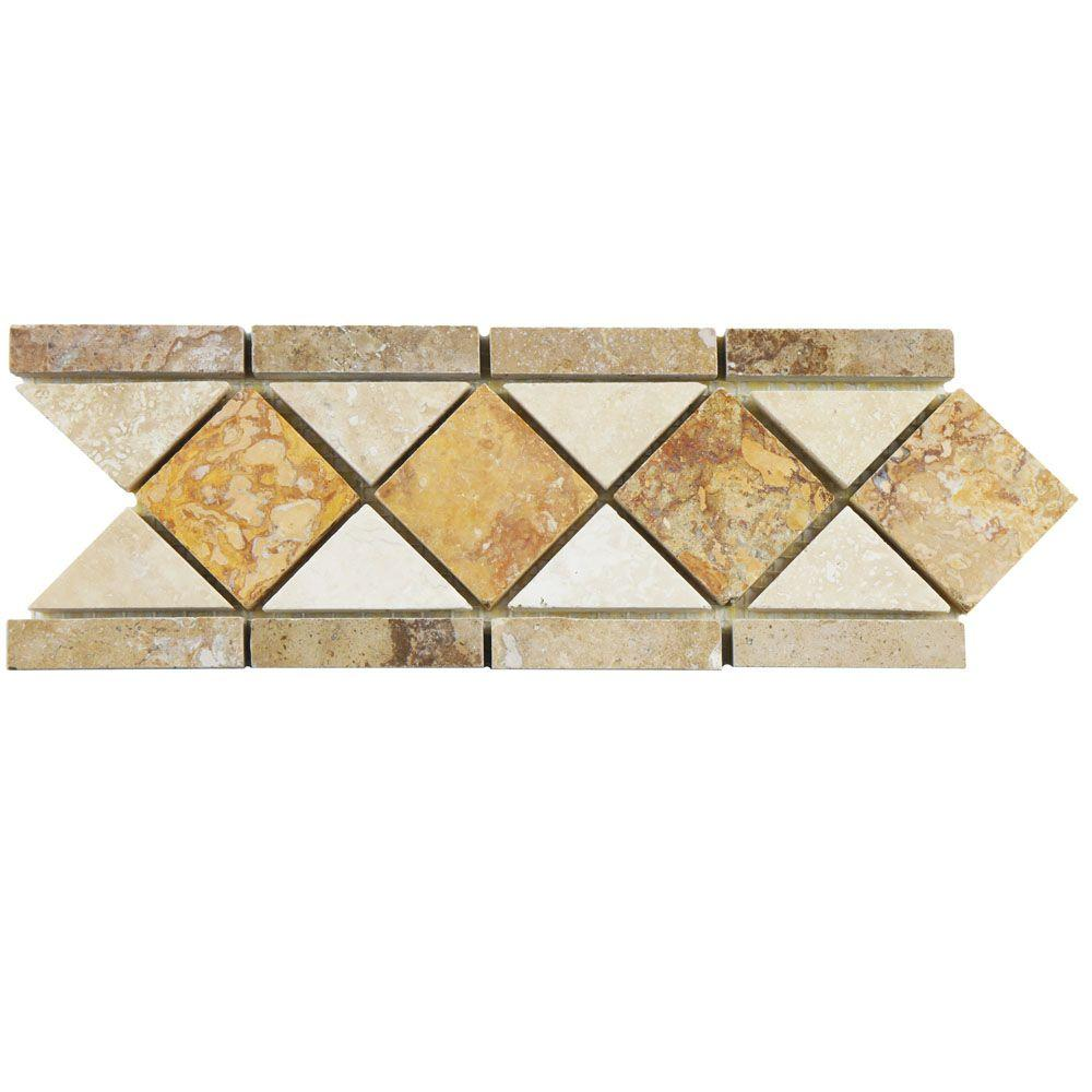 Merola Tile Tivolia Diamond Noce Chiaro Gold 4 in. x 12-1/2 in. x 13 mm Travertine Mosaic Trim Tile, Gold And Beige/Low Sheen
