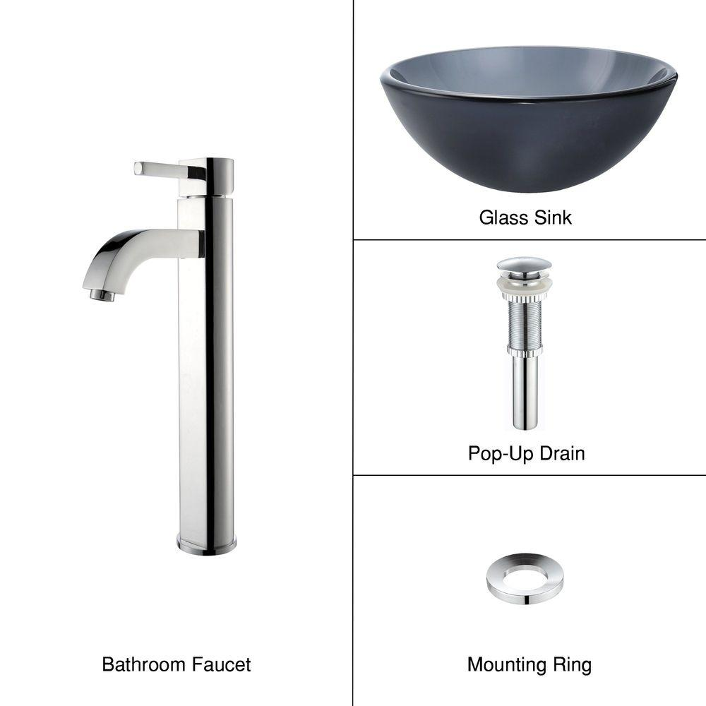 KRAUS Glass Vessel Sink in Frosted Black with Single Hole 1-Handle High Arc Ramus Faucet in Chrome-DISCONTINUED