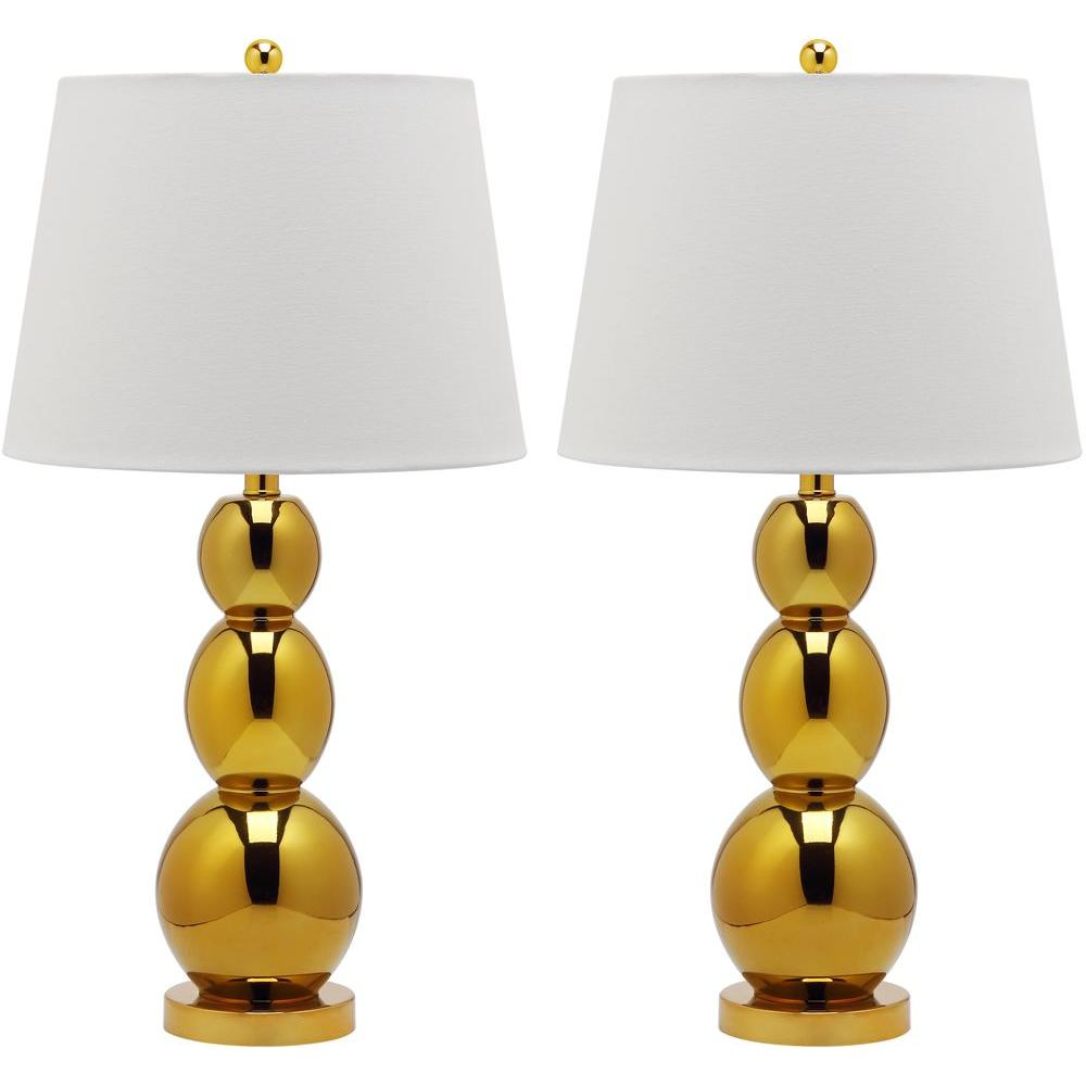 Jayne 27.5 in. Gold Three Sphere Glass Lamp (Set of 2)