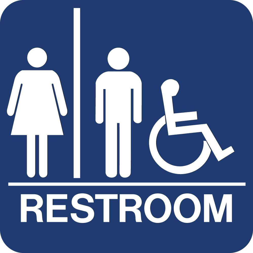 Bathroom Signs Braille lynch sign 8 in. x 8 in. blue plastic with braille restroom