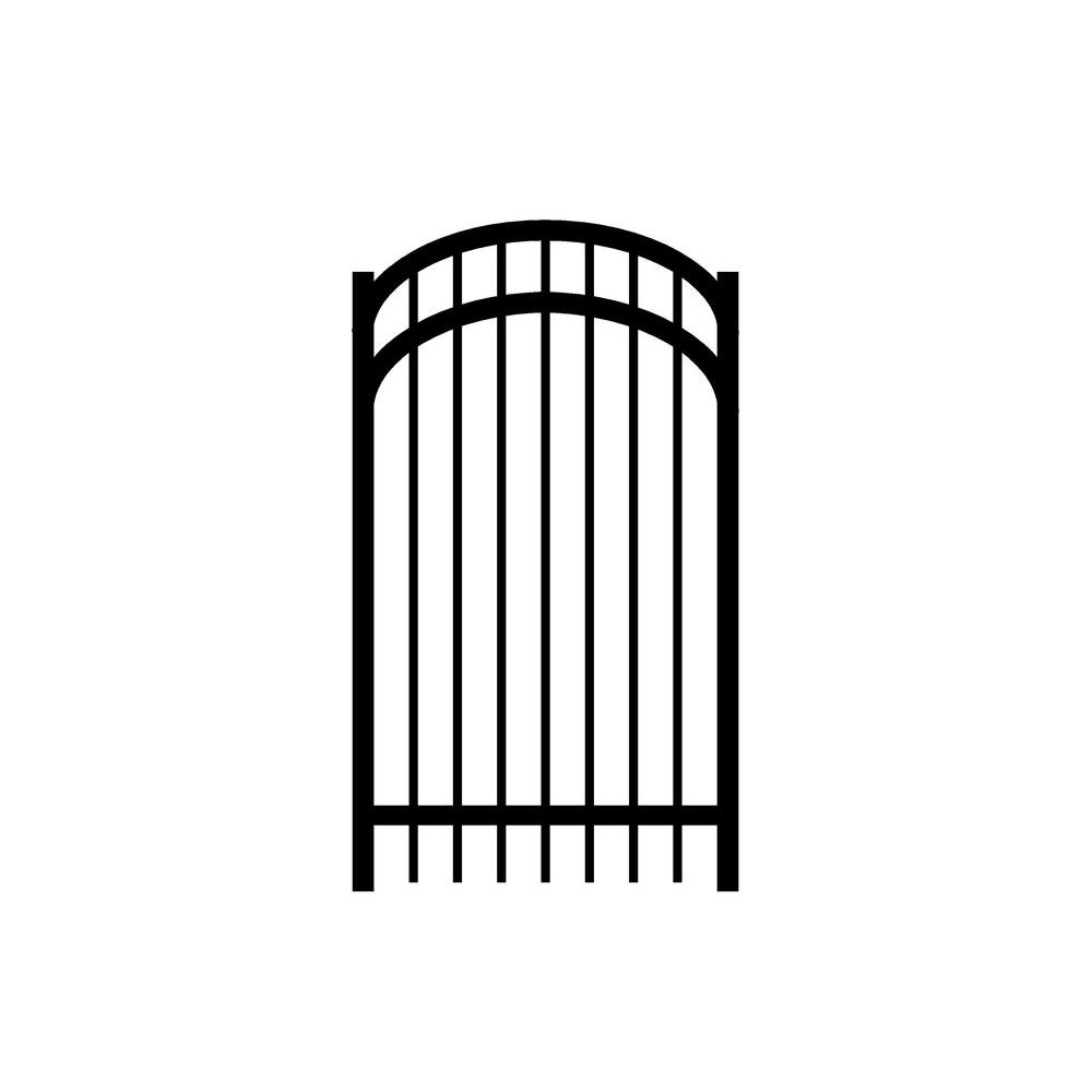 Jerith Jefferson 3 ft. W x 5-1/2 ft. H Single Walk Aluminum Black Arched Gate-DISCONTINUED