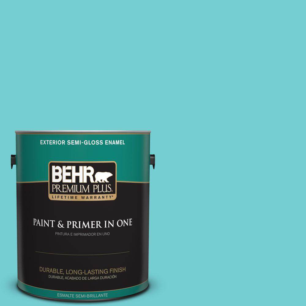 1-gal. #P460-3 Soft Turquoise Semi-Gloss Enamel Exterior Paint