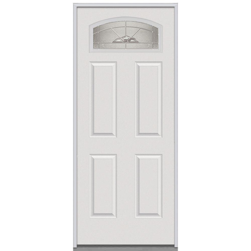 Milliken Millwork 36 in. x 80 in. Master Nouveau Decorative Glass 1/4 Lite 4-Panel Primed White Steel Replacement Prehung Front Door