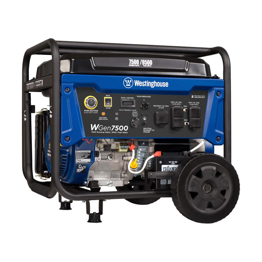 westinghouse 7500 running watt and 9000 peak watt gas powered portable generator with electric. Black Bedroom Furniture Sets. Home Design Ideas