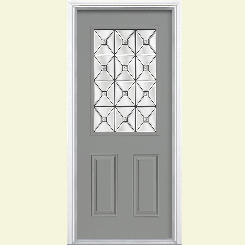 Masonite St Pauls Half Lite Painted Smooth Fiberglass Prehung Front Door with Brickmold-DISCONTINUED