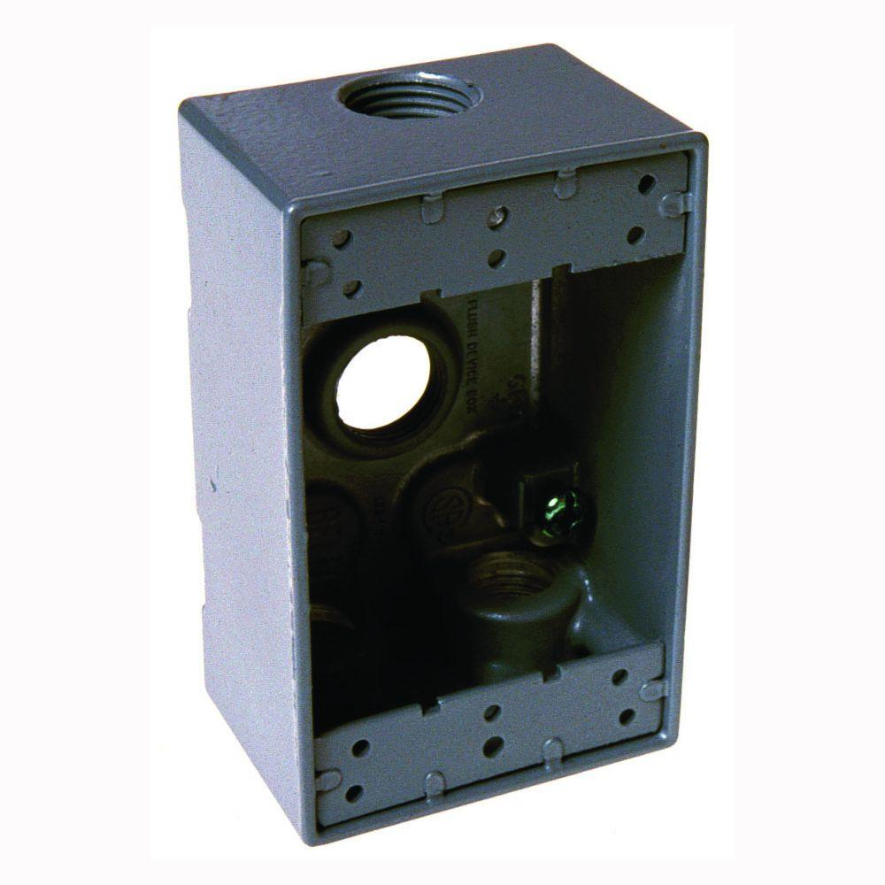 1 Gang Weatherproof Box with Four 3/4 in. Outlet