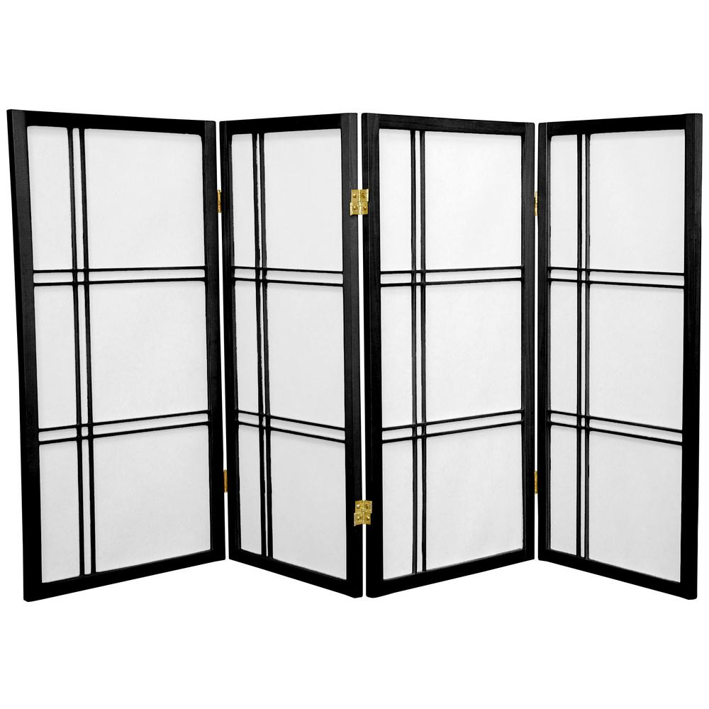 Oriental Furniture 3 ft. x 6 ft. 4-Panel Black Double Cross