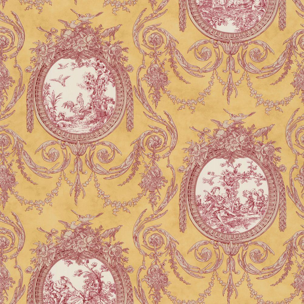 The Wallpaper Company 56 sq. ft. Yellow and Spice Vignette Toile Wallpaper-DISCONTINUED