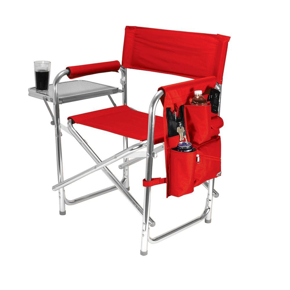Picnic Time Red Sports Portable Folding Patio Chair