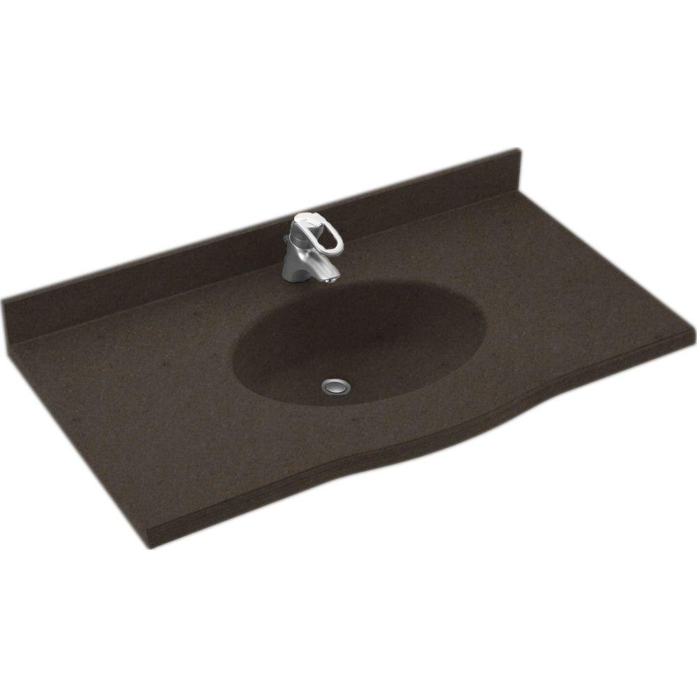 Swanstone Europa 43 in. Solid Surface Vanity Top with Basin in Canyon-DISCONTINUED