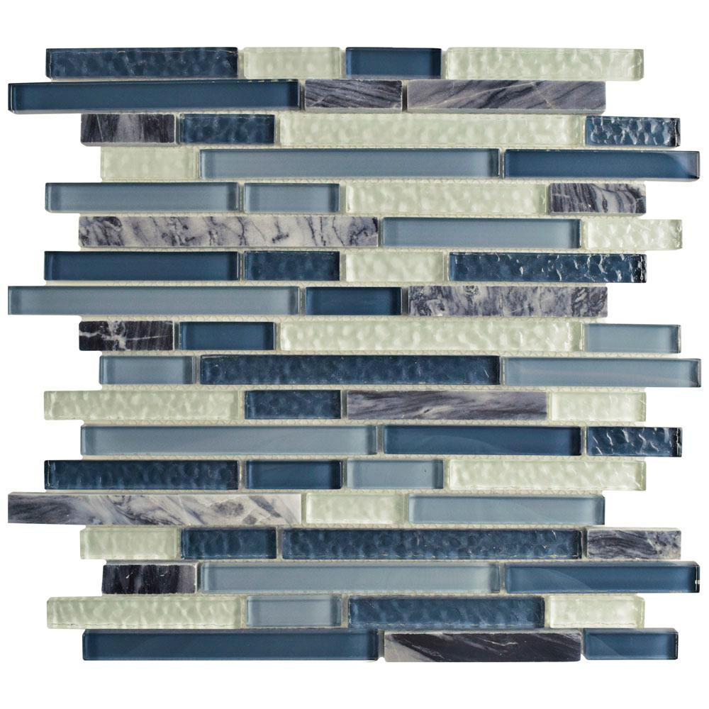 Merola Tile Tessera Piano Gulf 11-3/4 in. x 11-7/8 in. x 8 mm Glass and Stone Mosaic Tile, Gulf Blue/Mixed Finish