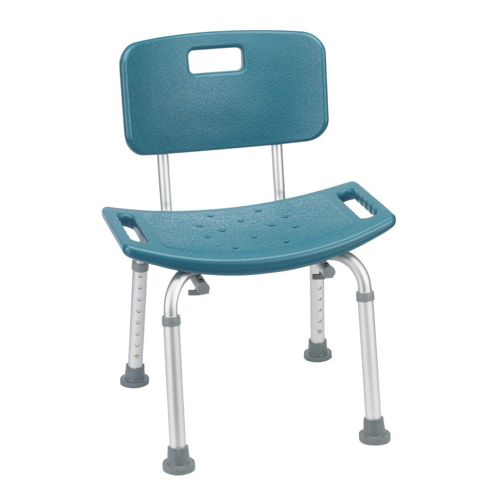 Drive Bathroom Safety Shower Tub Bench Chair with Back in Teal (Blue)