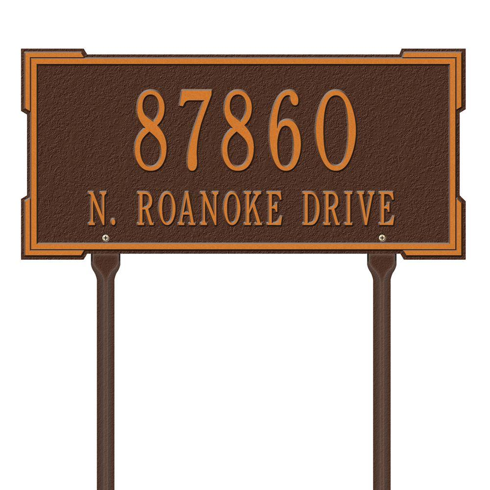 Rectangular Roanoke Standard Lawn 2-Line Address Plaque - Antique Copper