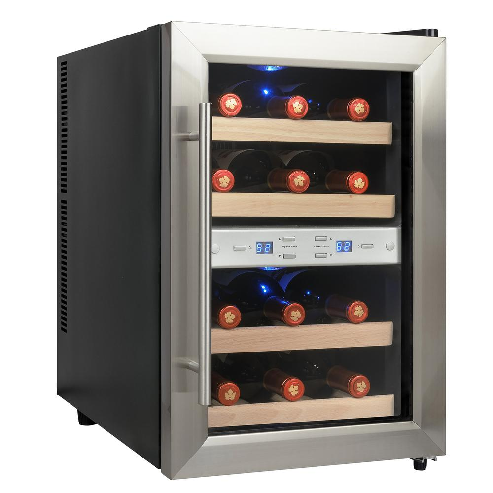 AKDY 12-Bottle Dual Zone Thermoelectric Wine Cooler in Stainless Steel with Reversible Door Design
