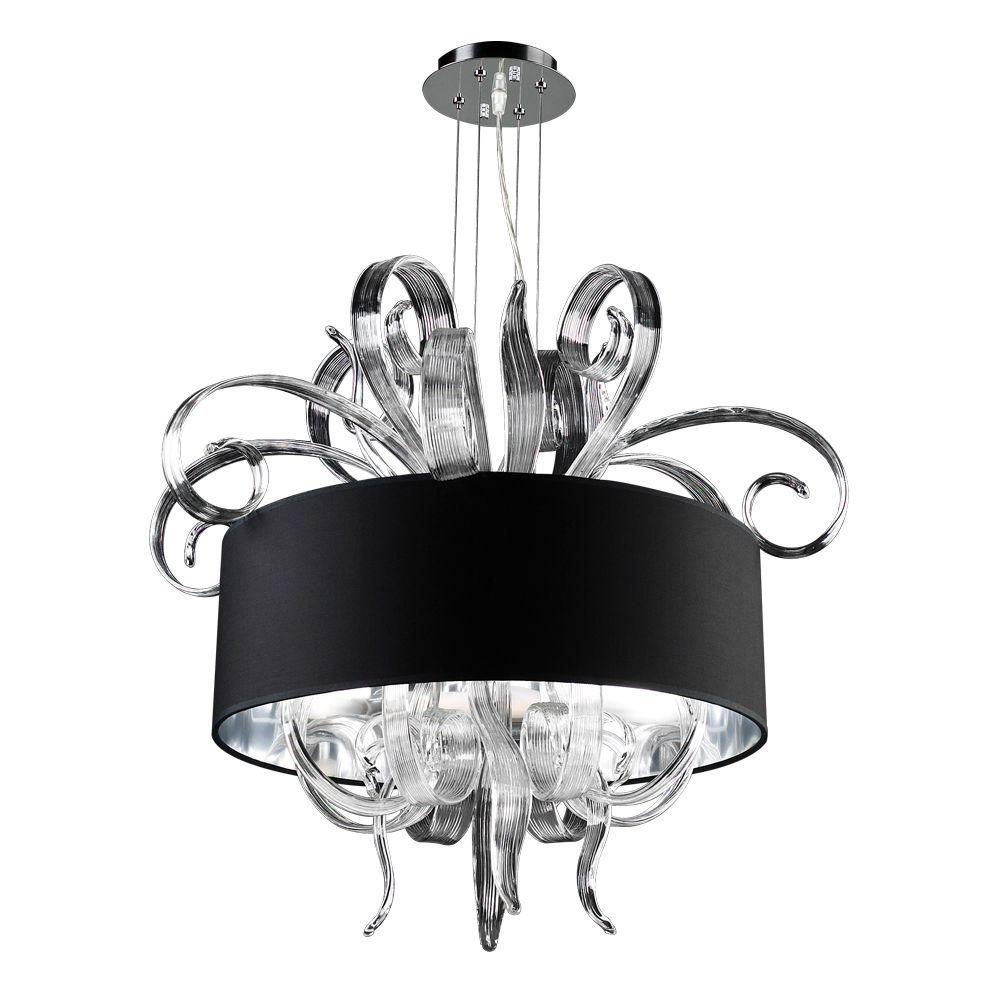 4-Light Polished Chrome Chandelier with Black Fabric Shade and Clear Glass