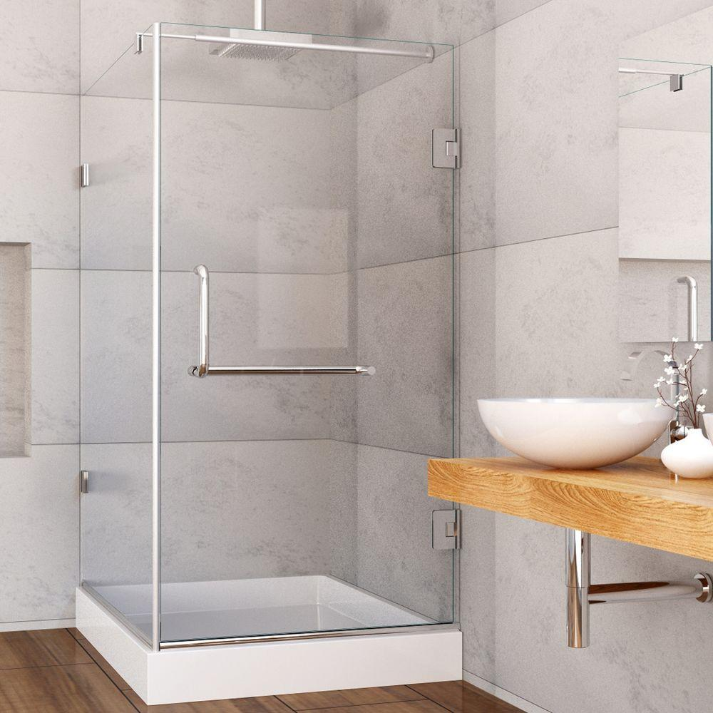 Pacifica 48.125 in. x 79.25 in. Frameless Pivot Shower Enclosure in Brushed Nickel with Clear Glass and Left Base