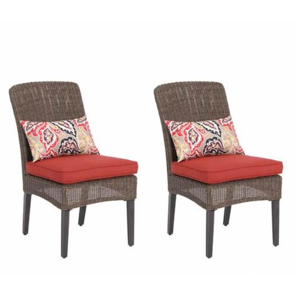 Hampton Bay Walnut Creek Patio Dining Chair with Red Cushion (2-Pack)-DISCONTINUED