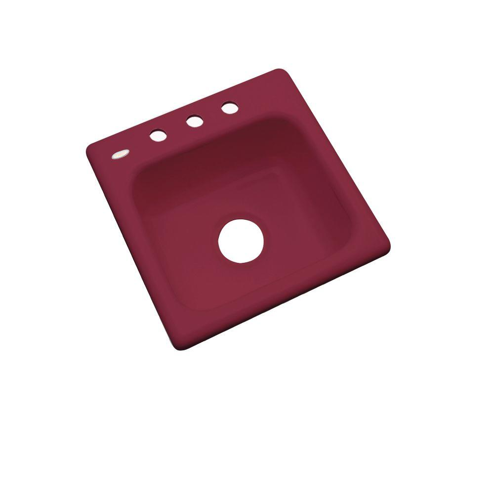 Thermocast Manchester Drop-In Acrylic 16 in. 3-Hole Single Basin Bar Sink in Ruby