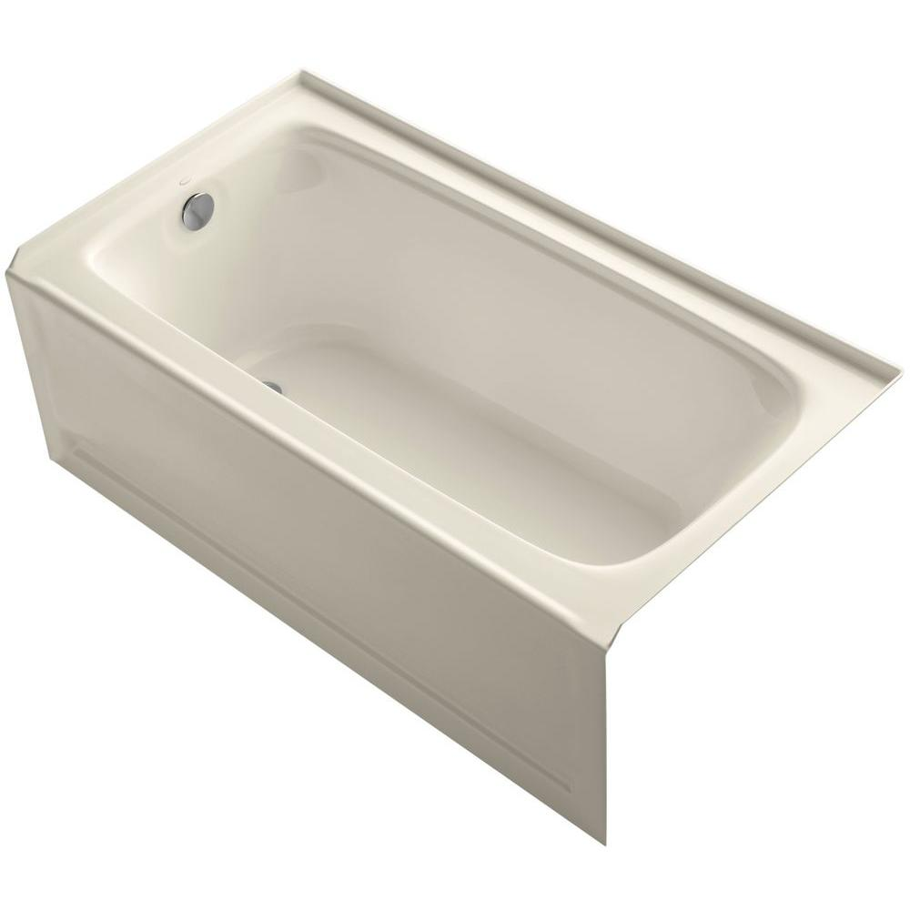 Bancroft 5 ft. Left Drain Soaking Tub in Almond with Bask